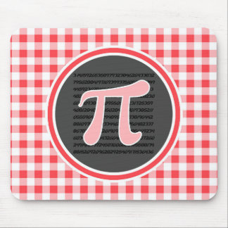 Pi symbol; Red and White Gingham Mousepad