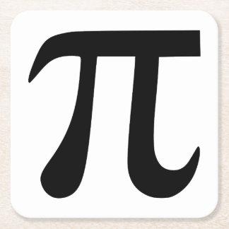 Pi Symbol Square Paper Coaster
