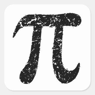 Pi symbol stickers, worn distressed geeky black square sticker
