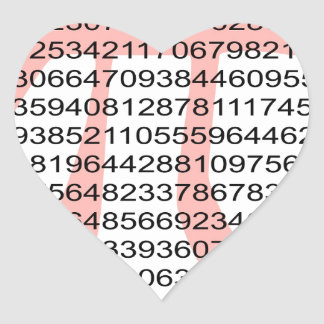 Pi with its number heart sticker