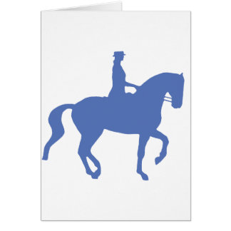 Piaffe Dressage Horse and Rider blue Greeting Cards