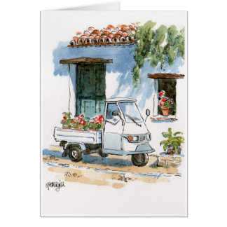 Piaggio and Geraniums - greeting card