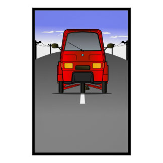 "Piaggio Ape ""Roadway"" Wall Poster/Framed Print"