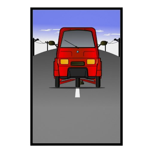 """Piaggio Ape """"Roadway"""" Wall Poster/Framed Print"""