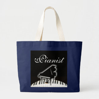 Pianist and Keyboard Large Tote Bag