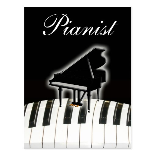 Pianist and Keyboard Post Card