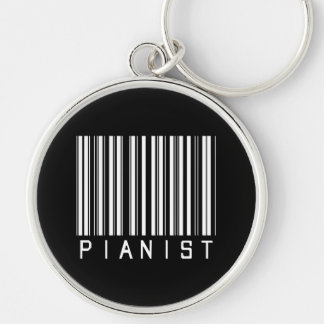 Pianist Bar Code Silver-Colored Round Key Ring