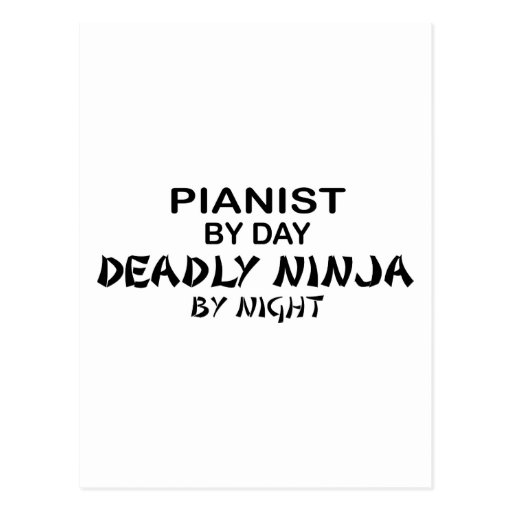 Pianist Deadly Ninja by Night Post Card