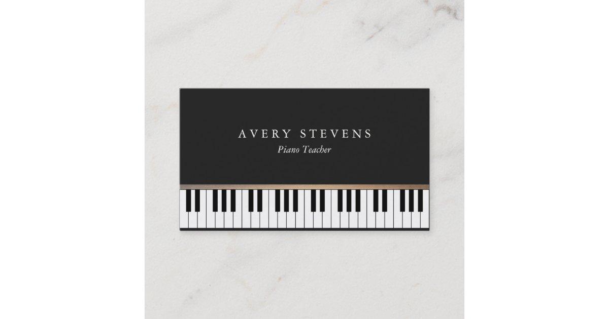 Pianist Elegant and Simple Black Piano Keys Business Card   Zazzle.co.uk