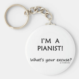 Pianist Excuse Basic Round Button Key Ring