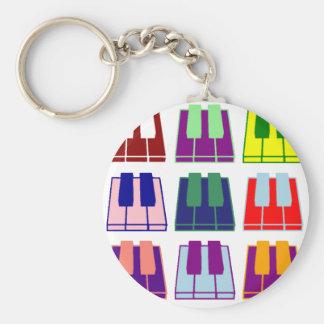 Pianist Keyboard Piano Keys Pop Art Keychains