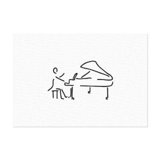 Pianist musician plays piano piano wing gallery wrap canvas
