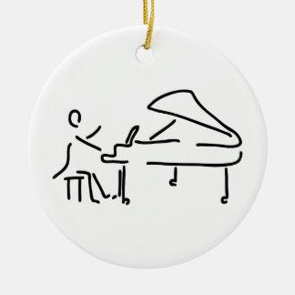 Pianist musician plays piano piano wing round ceramic decoration