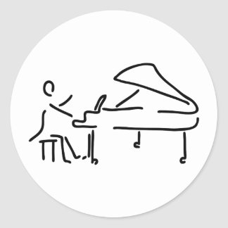 Pianist musician plays piano piano wing round sticker