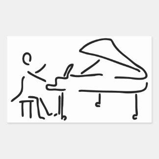Pianist musician plays piano piano wing rectangular sticker