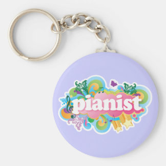 Pianist Retro Piano Gift Basic Round Button Key Ring