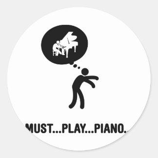 Pianist Round Sticker