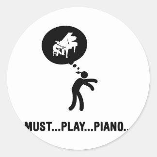 Pianist Classic Round Sticker
