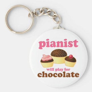 Pianist Will Play for Chocolate Basic Round Button Key Ring