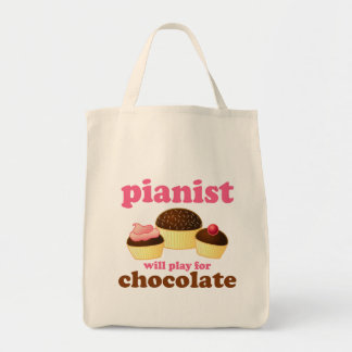 Pianist Will Play for Chocolate Grocery Tote Bag