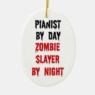 Pianist Zombie Slayer Christmas Ornament