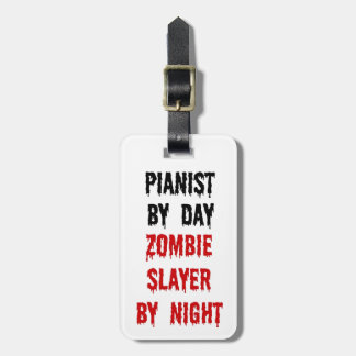 Pianist Zombie Slayer Luggage Tag