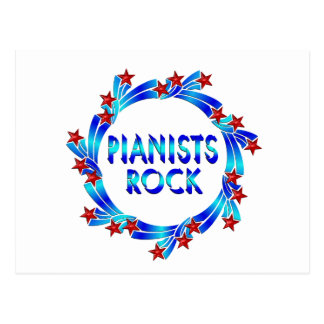 Pianists Rock Red Stars Post Card