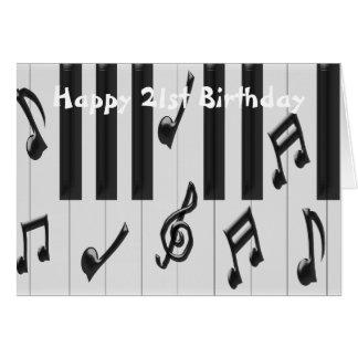 Piano 21st Birthday Cards