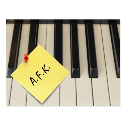 Piano A.F.K. (Away From Keyboard) Postcard