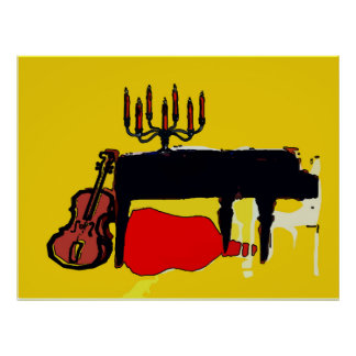 Piano Abstract with Cello Poster