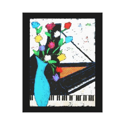piano and flowers wrapped canvas print
