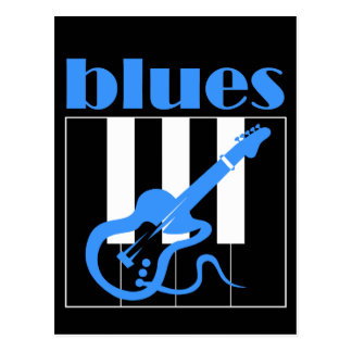 Piano and guitar blues postcard