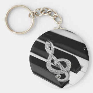 Piano and music Gclef Basic Round Button Key Ring