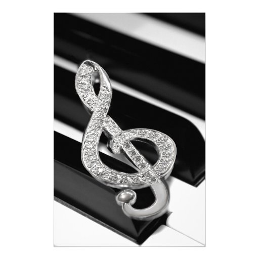Piano and music Gclef Stationery