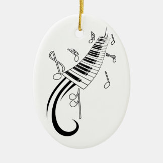 Piano and Music Notes Ceramic Oval Decoration