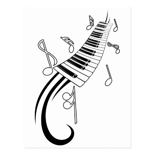 Piano and Music Notes Post Cards