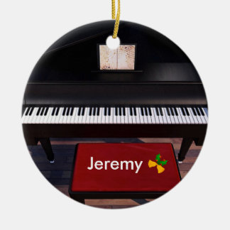 Piano and Red Piano Stool, Christmas template Christmas Ornament