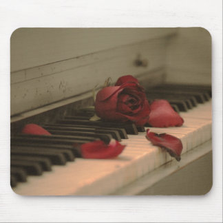 Piano and Rose Mouse Pad