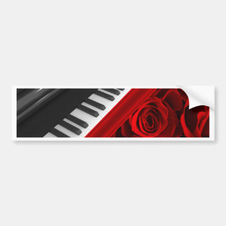 Piano and Roses Bumper Sticker