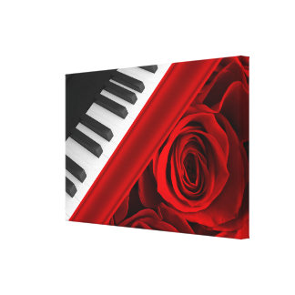 Piano and Roses Canvas Prints