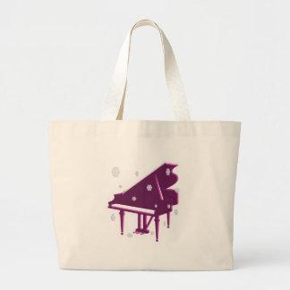 Piano and Snowflakes Large Tote Bag