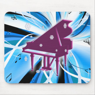 Piano and Snowflakes Mouse Mat