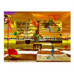Piano art postcard