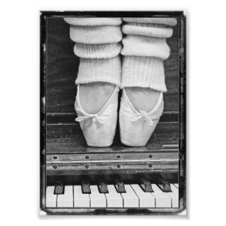Piano Ballet Duet black and white small sized Photo Print