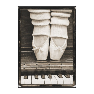 Piano Ballet Duet medium sized Gallery Wrapped Canvas