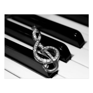 Piano Bar with G-clef Postcard