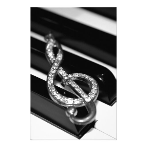 Piano Bar with G-clef Stationery Design