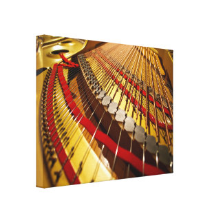 Piano Bass Strings Up Close Stretched Canvas Prints