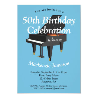 Piano Birthday Invitation Music Musician