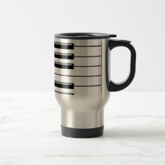 Piano Black and White Stainless Steel Travel Mug